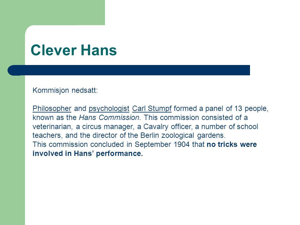 Clever Hans Kommisjon nedsatt: