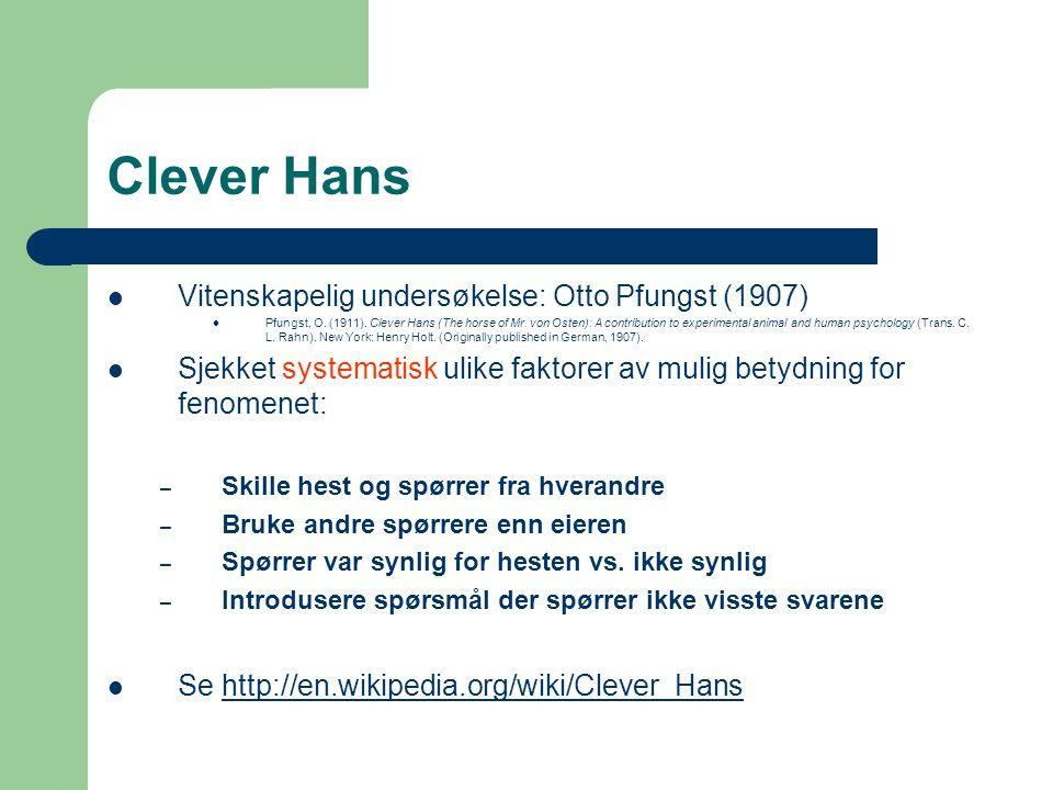 Clever Hans Vitenskapelig undersøkelse: Otto Pfungst (1907)