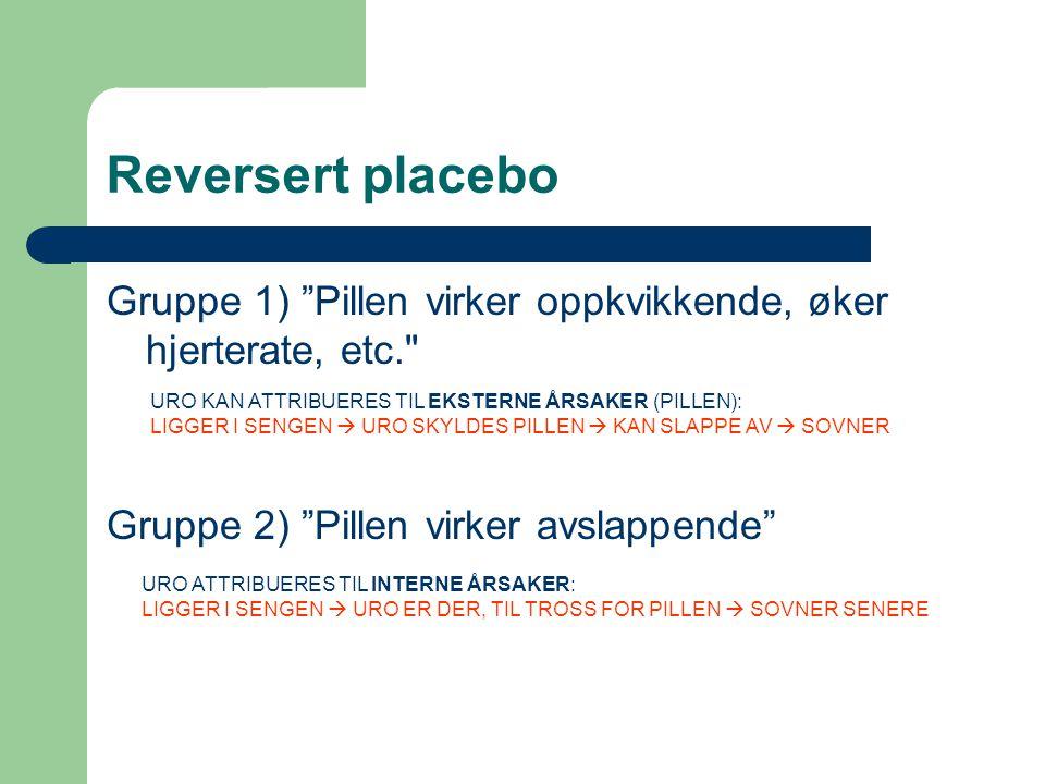 Reversert placebo Gruppe 1) Pillen virker oppkvikkende, øker hjerterate, etc. Gruppe 2) Pillen virker avslappende
