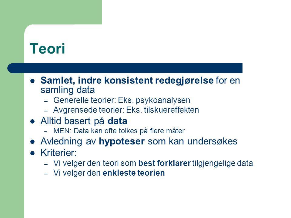 Teori Samlet, indre konsistent redegjørelse for en samling data