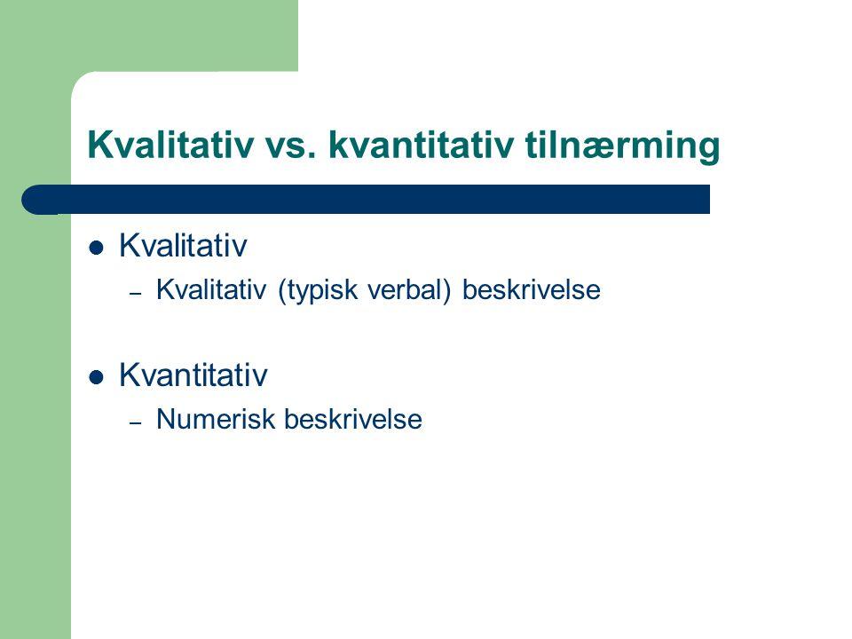 Kvalitativ vs. kvantitativ tilnærming