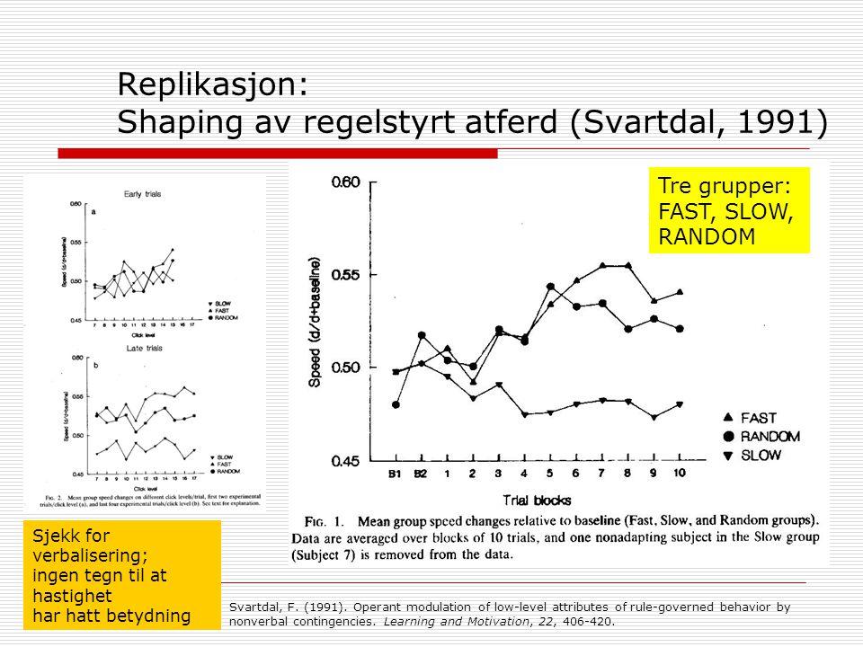 Replikasjon: Shaping av regelstyrt atferd (Svartdal, 1991)