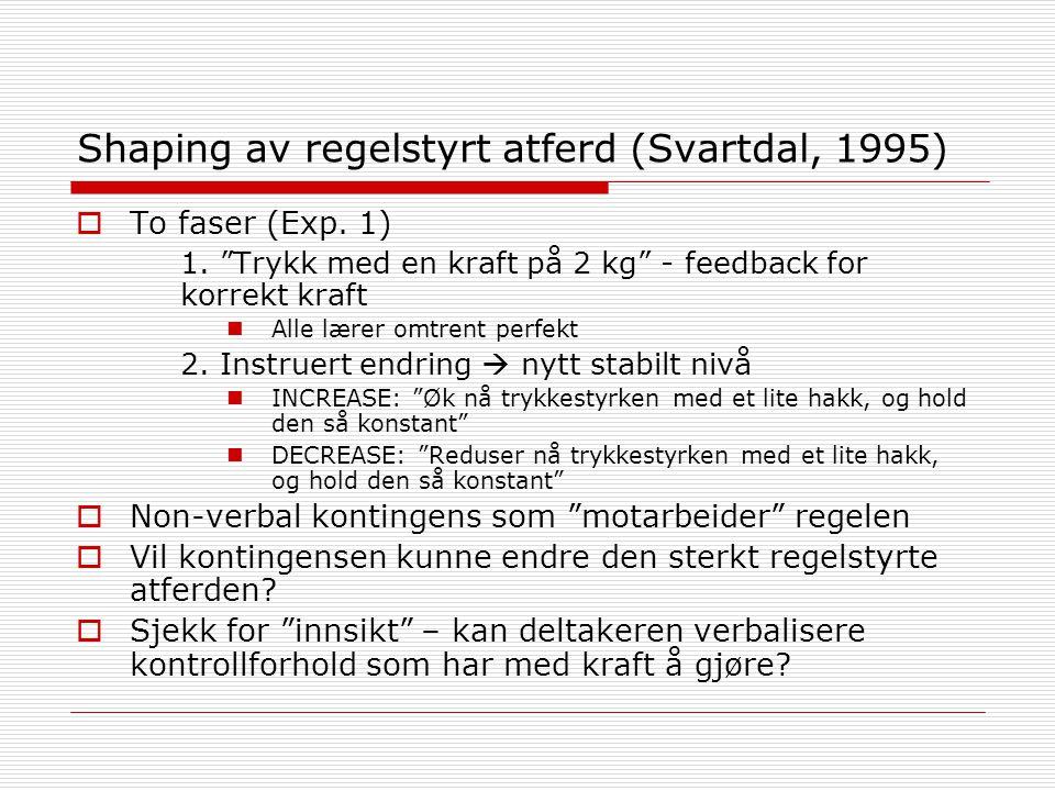 Shaping av regelstyrt atferd (Svartdal, 1995)