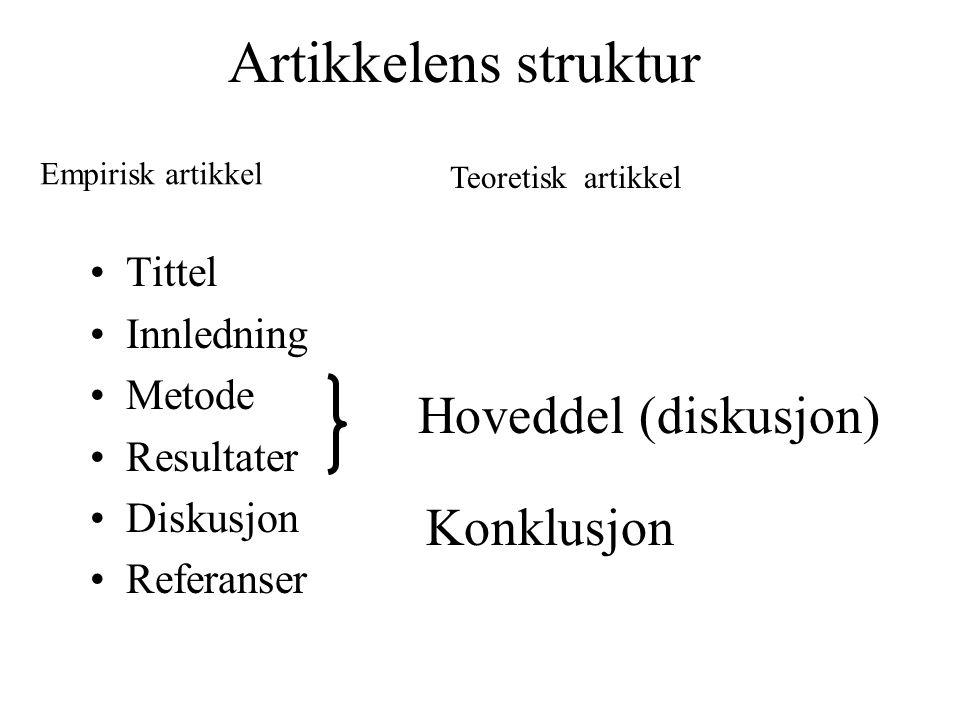 Artikkelens struktur Hoveddel (diskusjon) Konklusjon Tittel Innledning