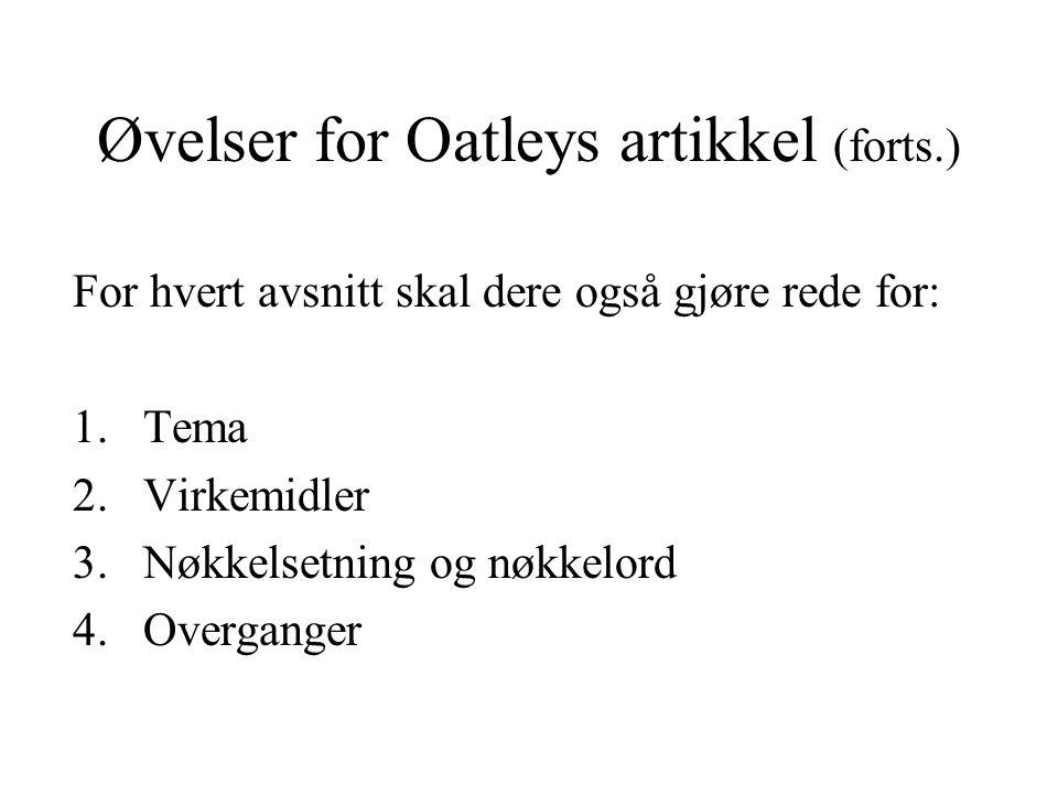 Øvelser for Oatleys artikkel (forts.)
