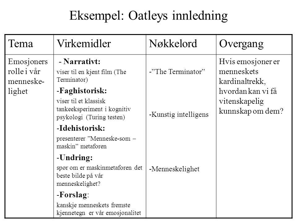 Eksempel: Oatleys innledning