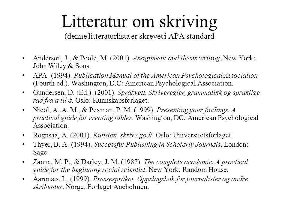 Litteratur om skriving (denne litteraturlista er skrevet i APA standard