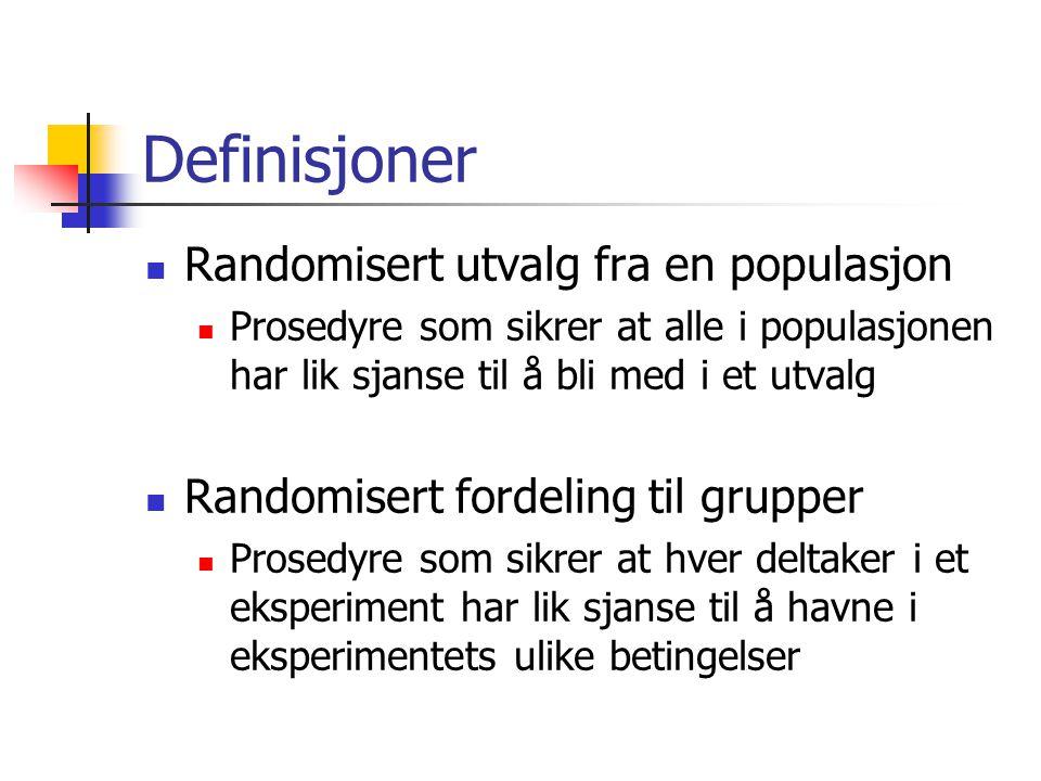 Definisjoner Randomisert utvalg fra en populasjon