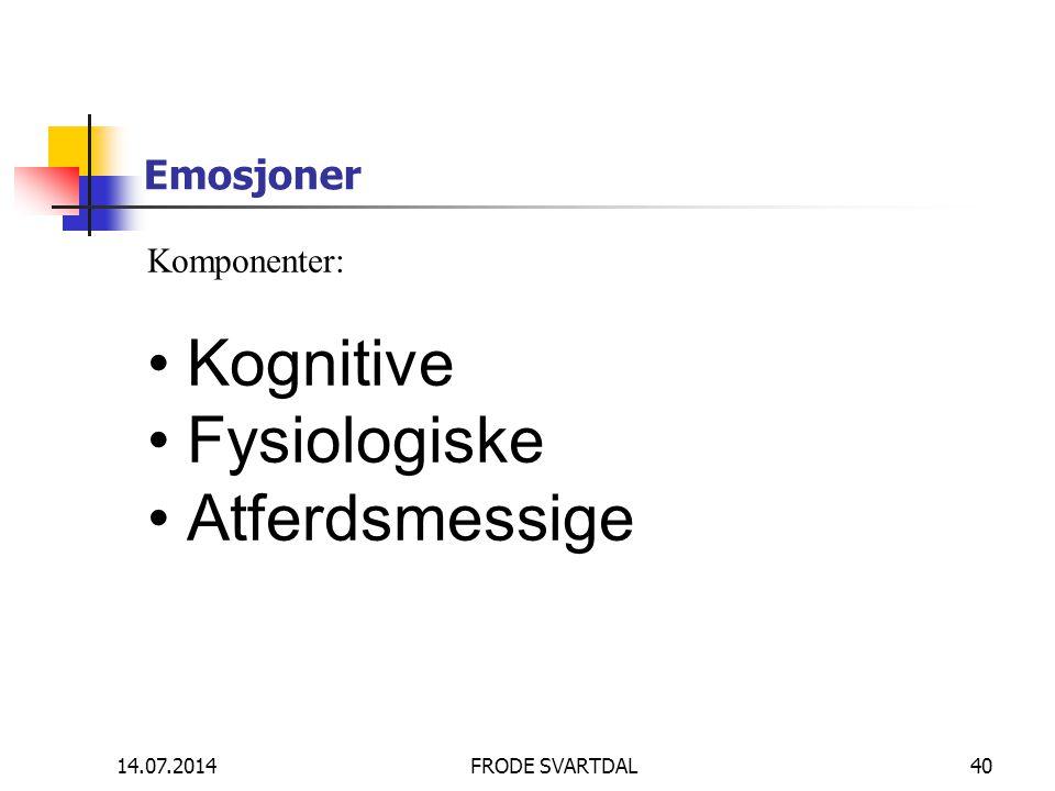 Kognitive Fysiologiske Atferdsmessige Emosjoner Komponenter: