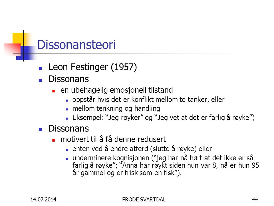 Dissonansteori Leon Festinger (1957) Dissonans