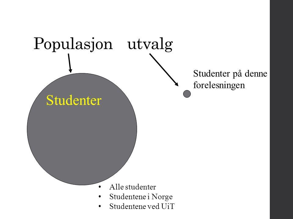 Populasjon utvalg Studenter Studenter på denne forelesningen