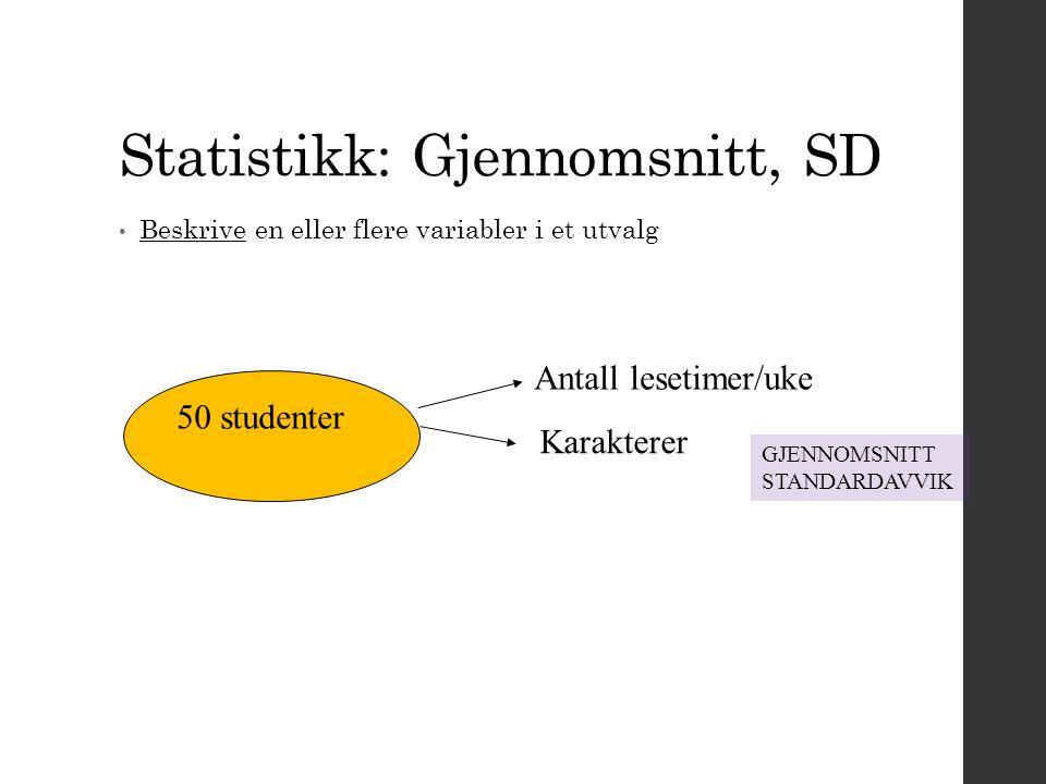 Statistikk: Gjennomsnitt, SD