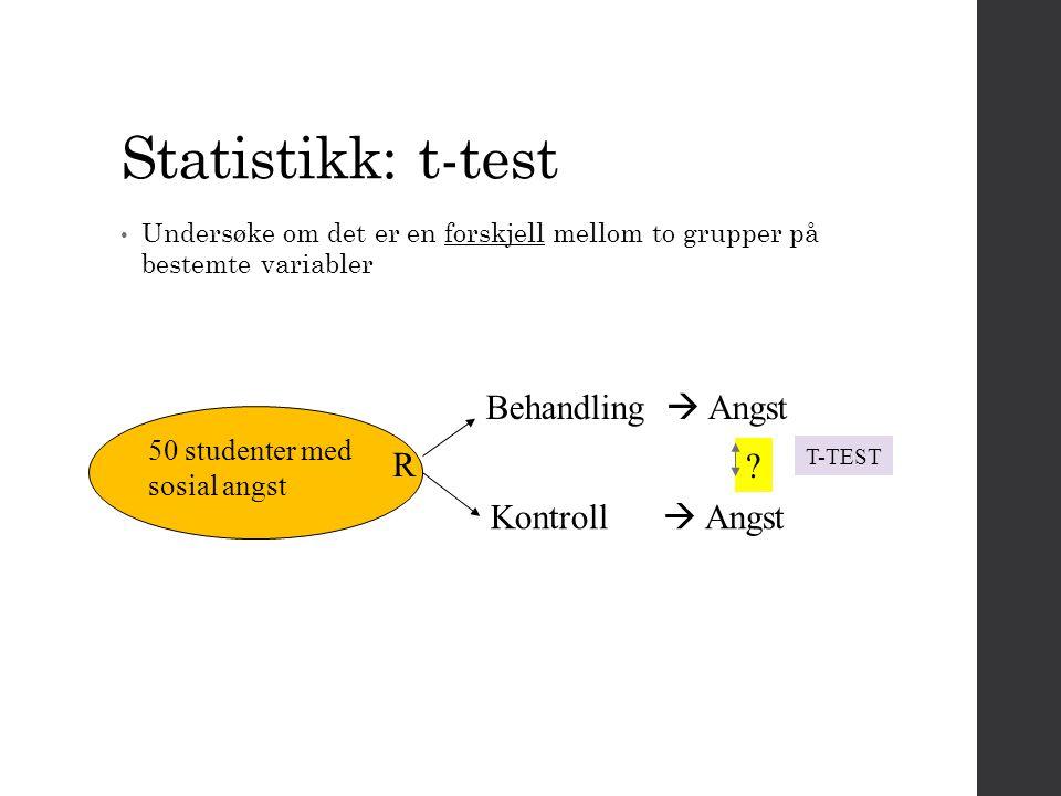 Statistikk: t-test Behandling  Angst R Kontroll  Angst