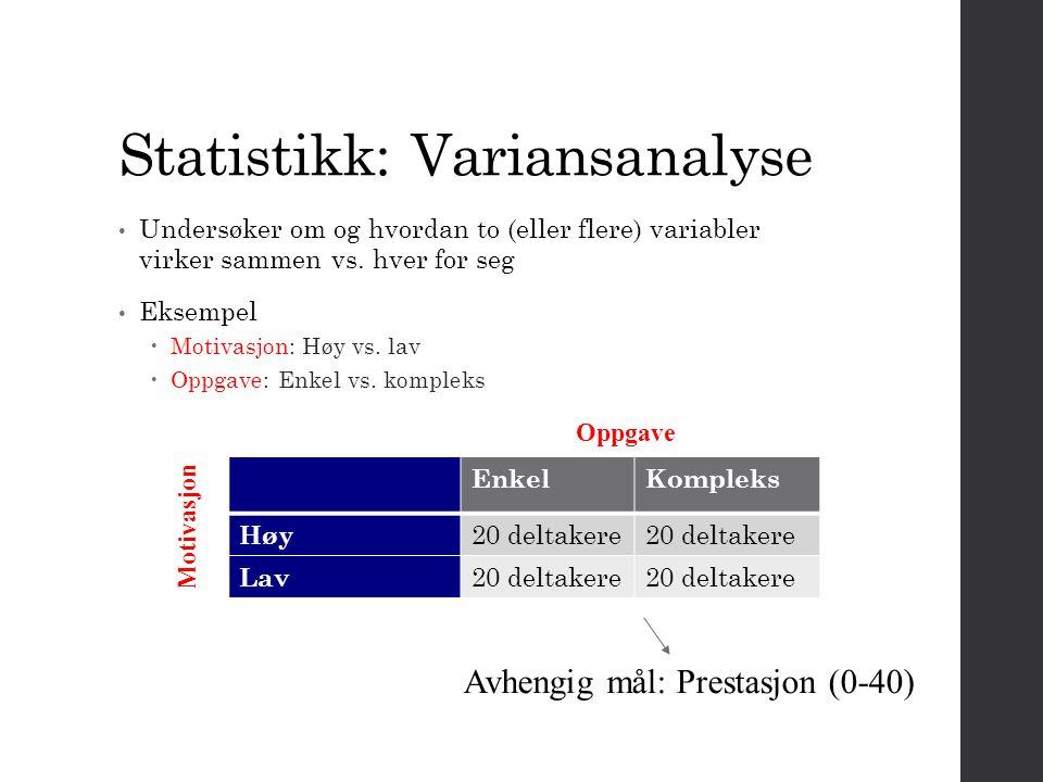 Statistikk: Variansanalyse