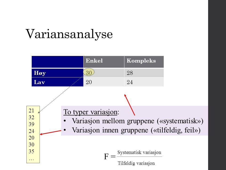 F = Systematisk variasjon