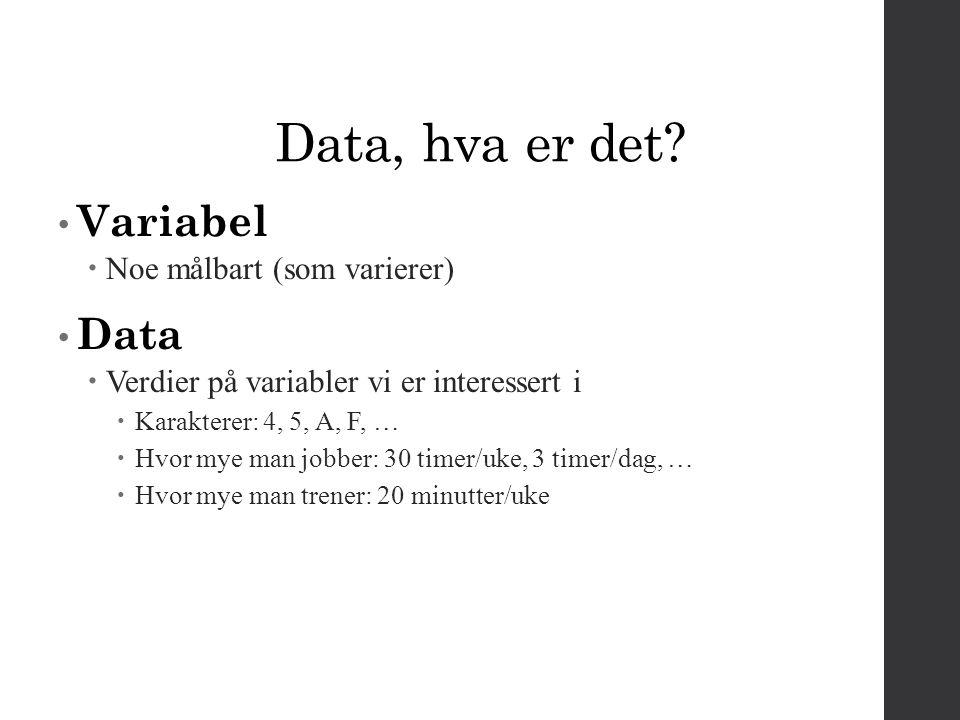 Data, hva er det Variabel Data Noe målbart (som varierer)