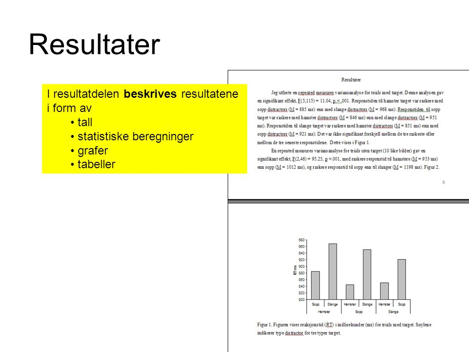 Resultater I resultatdelen beskrives resultatene i form av tall