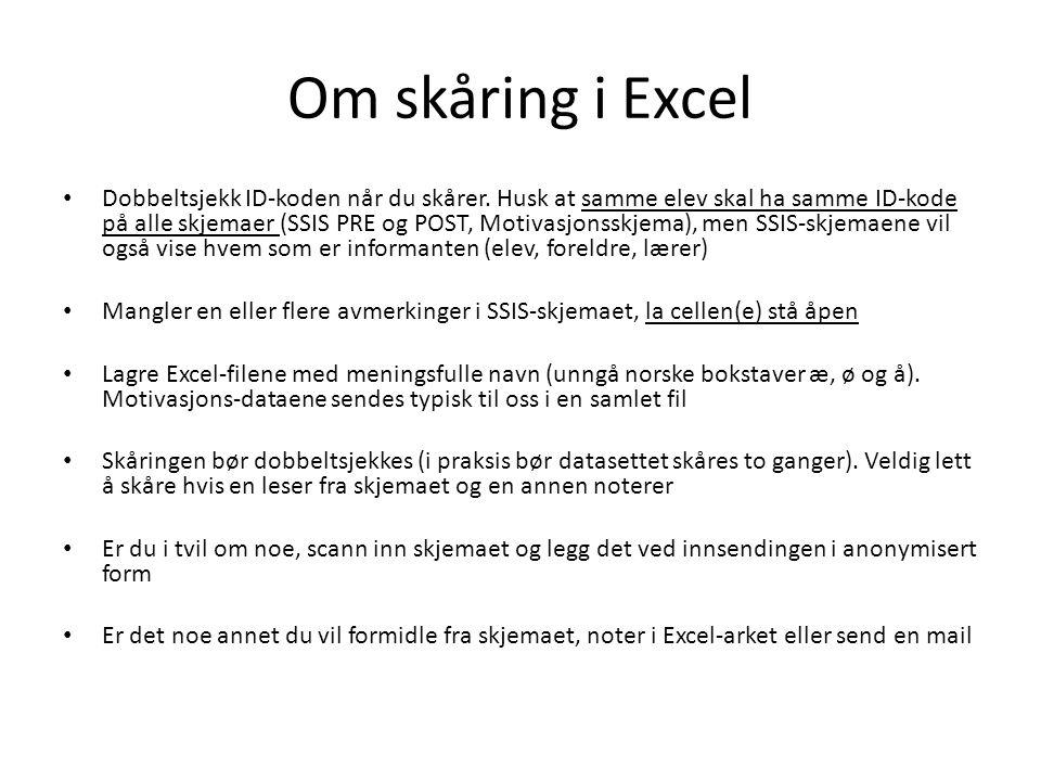 Om skåring i Excel