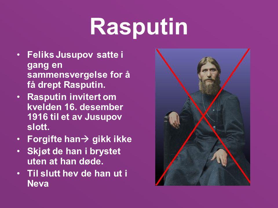Rasputin Feliks Jusupov satte i gang en sammensvergelse for å få drept Rasputin.