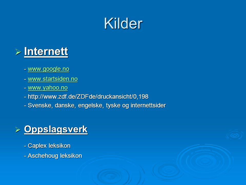 Kilder Internett - www.google.no - Caplex leksikon Oppslagsverk