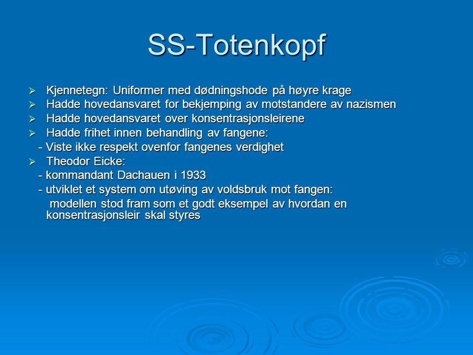 SS-Totenkopf Kjennetegn: Uniformer med dødningshode på høyre krage