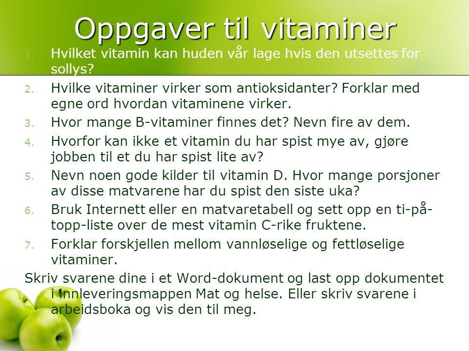 Oppgaver til vitaminer