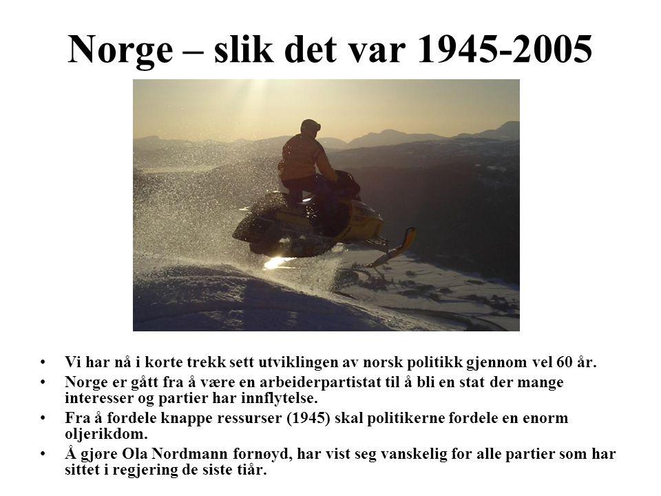 Norge – slik det var 1945-2005 Vi har nå i korte trekk sett utviklingen av norsk politikk gjennom vel 60 år.