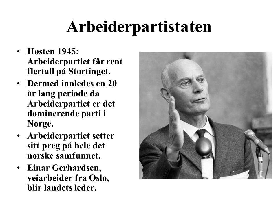Arbeiderpartistaten Høsten 1945: Arbeiderpartiet får rent flertall på Stortinget.