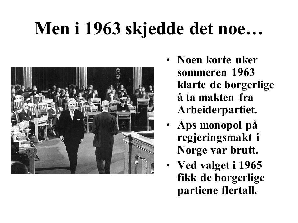 Men i 1963 skjedde det noe… Noen korte uker sommeren 1963 klarte de borgerlige å ta makten fra Arbeiderpartiet.