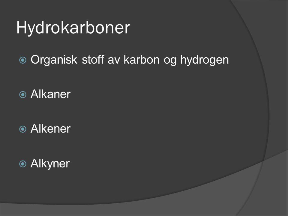 Hydrokarboner Organisk stoff av karbon og hydrogen Alkaner Alkener