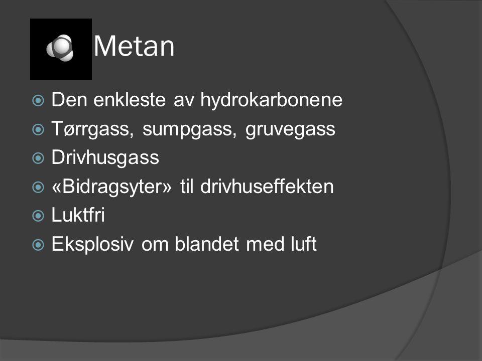 Metan Den enkleste av hydrokarbonene Tørrgass, sumpgass, gruvegass
