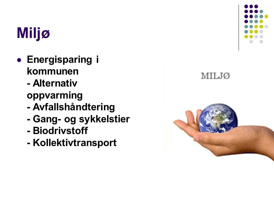 Miljø Energisparing i kommunen - Alternativ oppvarming - Avfallshåndtering - Gang- og sykkelstier - Biodrivstoff - Kollektivtransport.