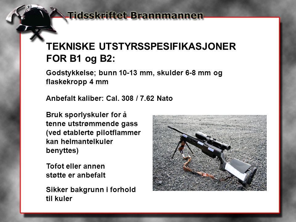 TEKNISKE UTSTYRSSPESIFIKASJONER FOR B1 og B2: