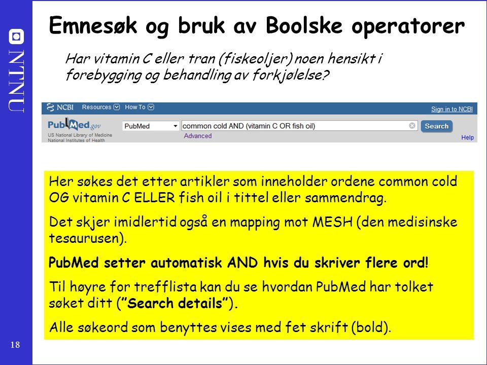 Emnesøk og bruk av Boolske operatorer