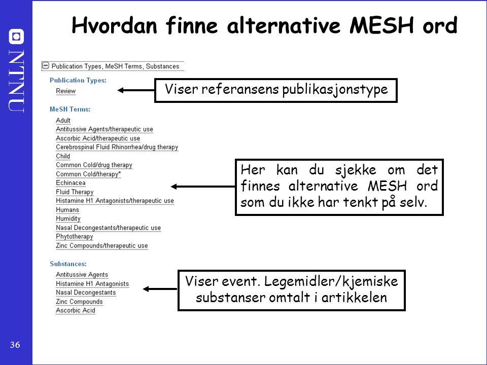 Hvordan finne alternative MESH ord