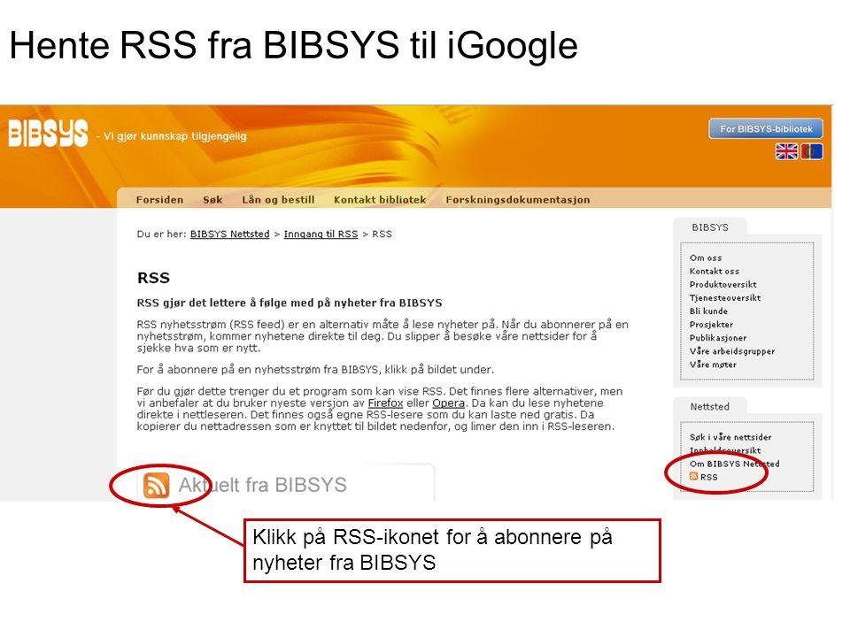 Hente RSS fra BIBSYS til iGoogle