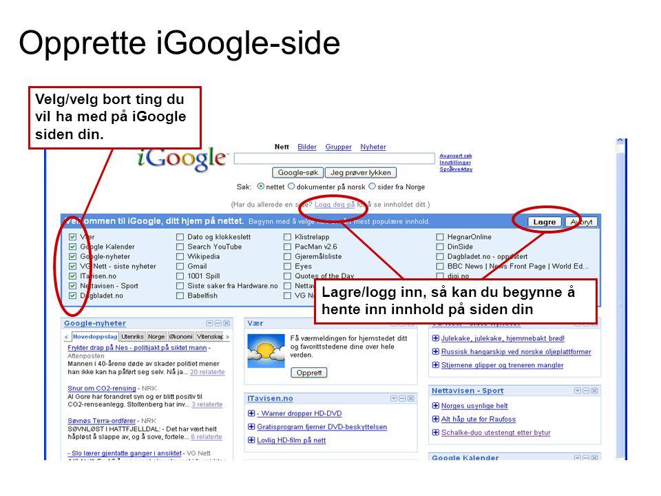 Opprette iGoogle-side