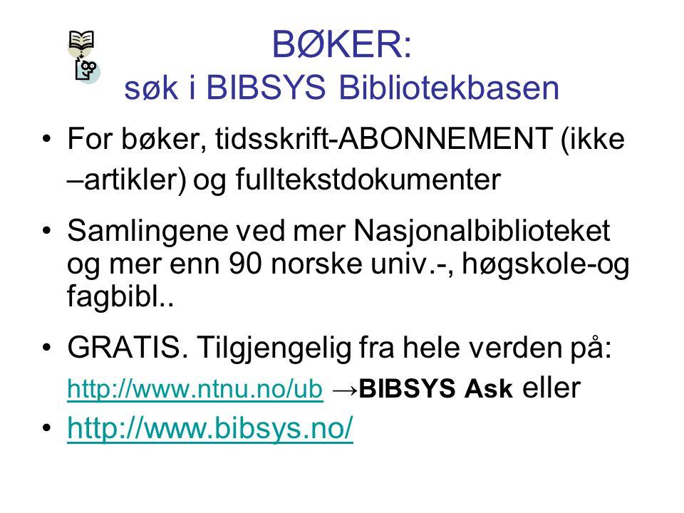 BØKER: søk i BIBSYS Bibliotekbasen
