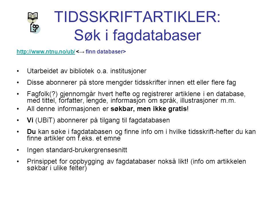 TIDSSKRIFTARTIKLER: Søk i fagdatabaser