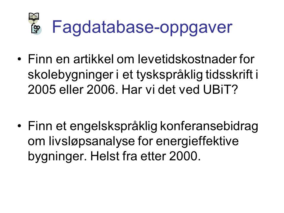 Fagdatabase-oppgaver