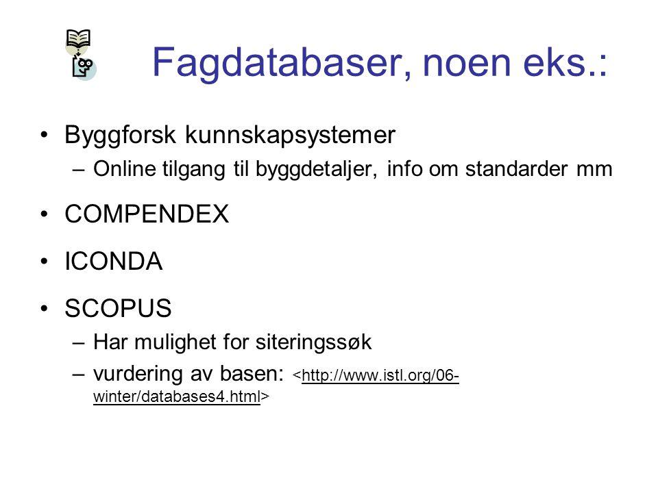 Fagdatabaser, noen eks.: