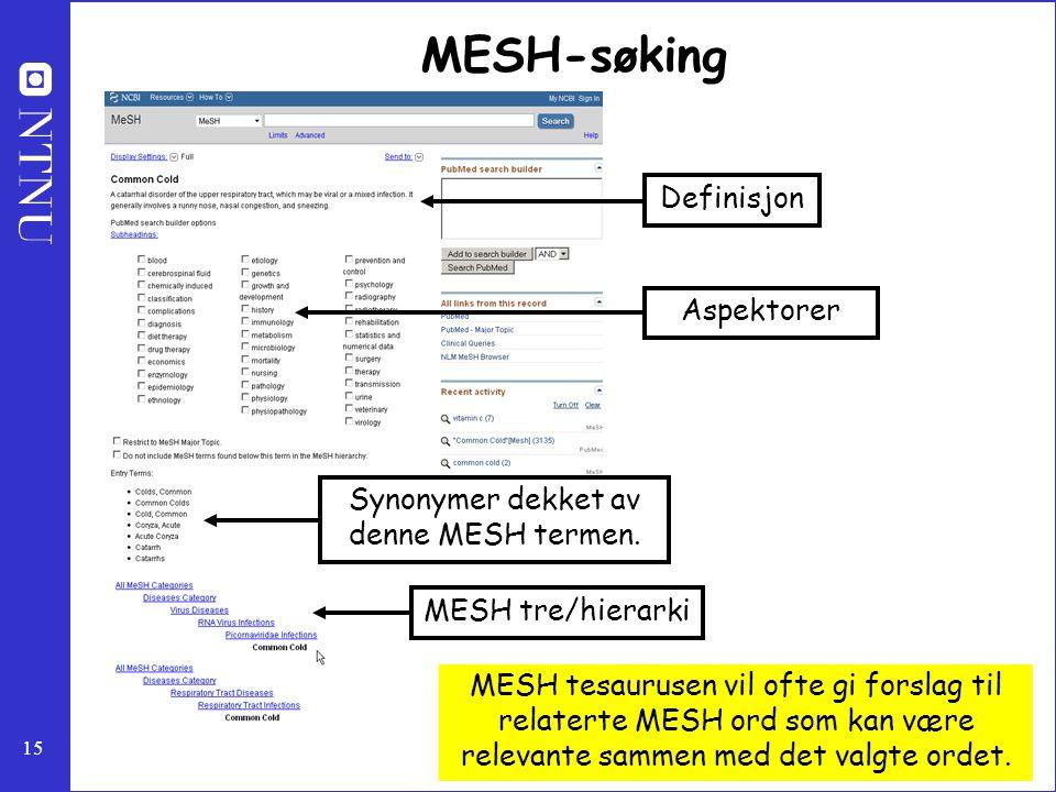Synonymer dekket av denne MESH termen.