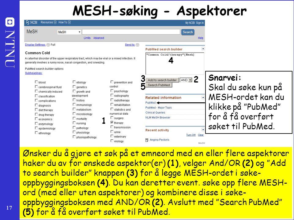 MESH-søking - Aspektorer