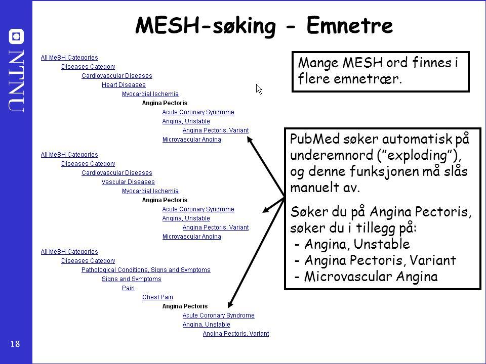 MESH-søking - Emnetre Mange MESH ord finnes i flere emnetrær.