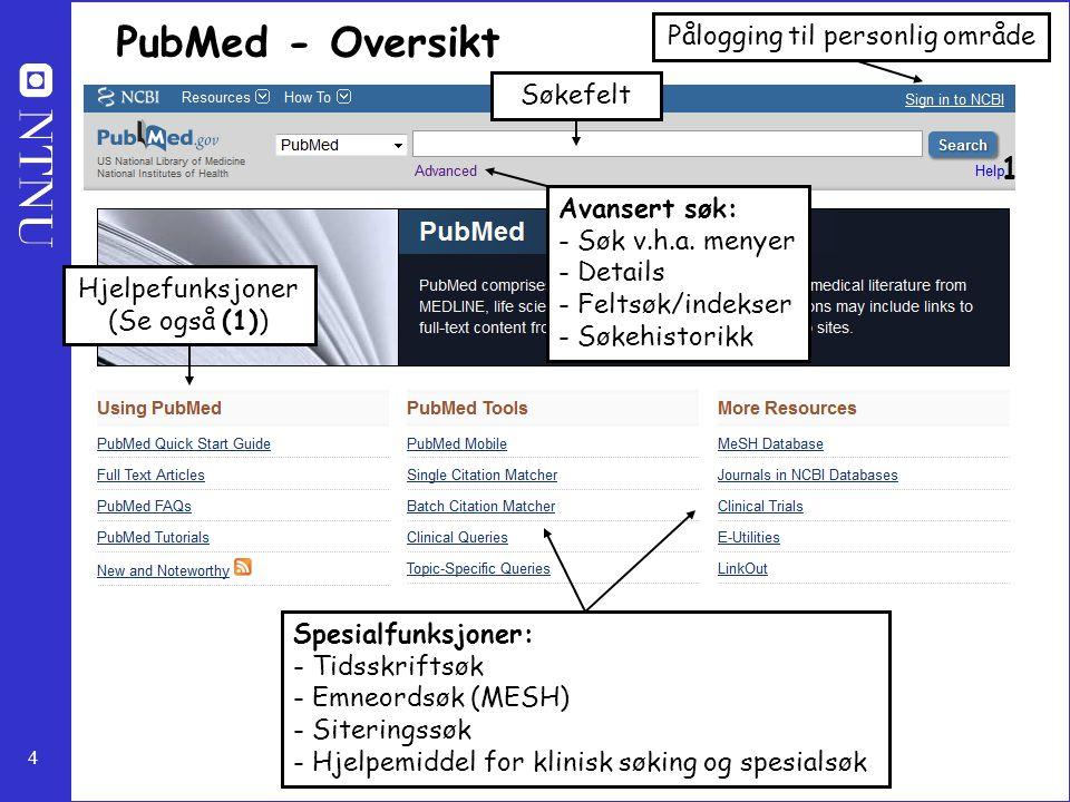 PubMed - Oversikt 1 Pålogging til personlig område Søkefelt