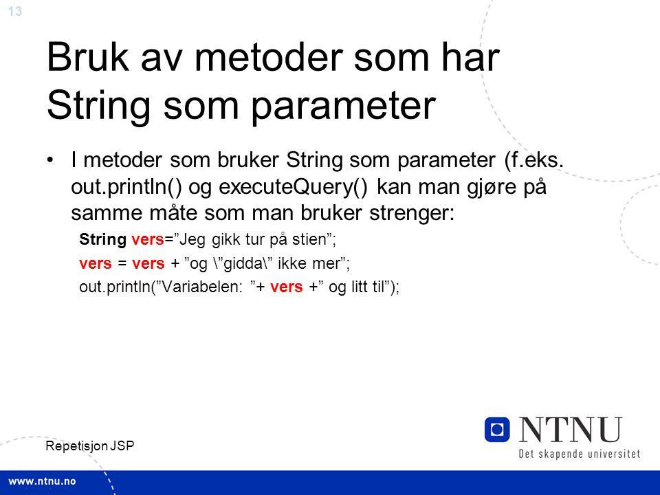 Bruk av metoder som har String som parameter