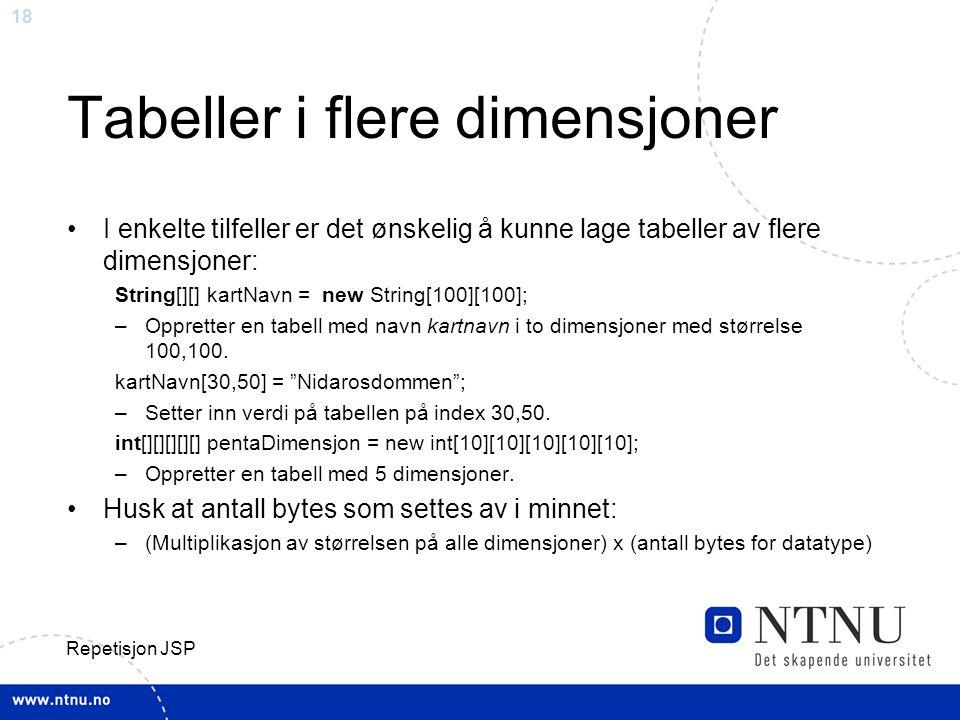 Tabeller i flere dimensjoner