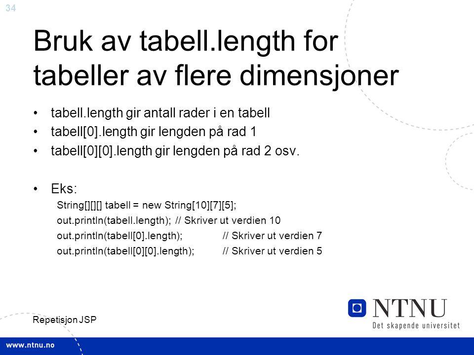 Bruk av tabell.length for tabeller av flere dimensjoner