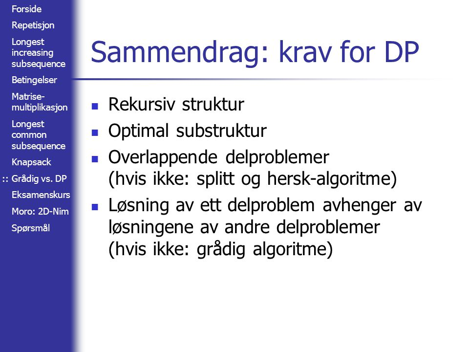 Sammendrag: krav for DP