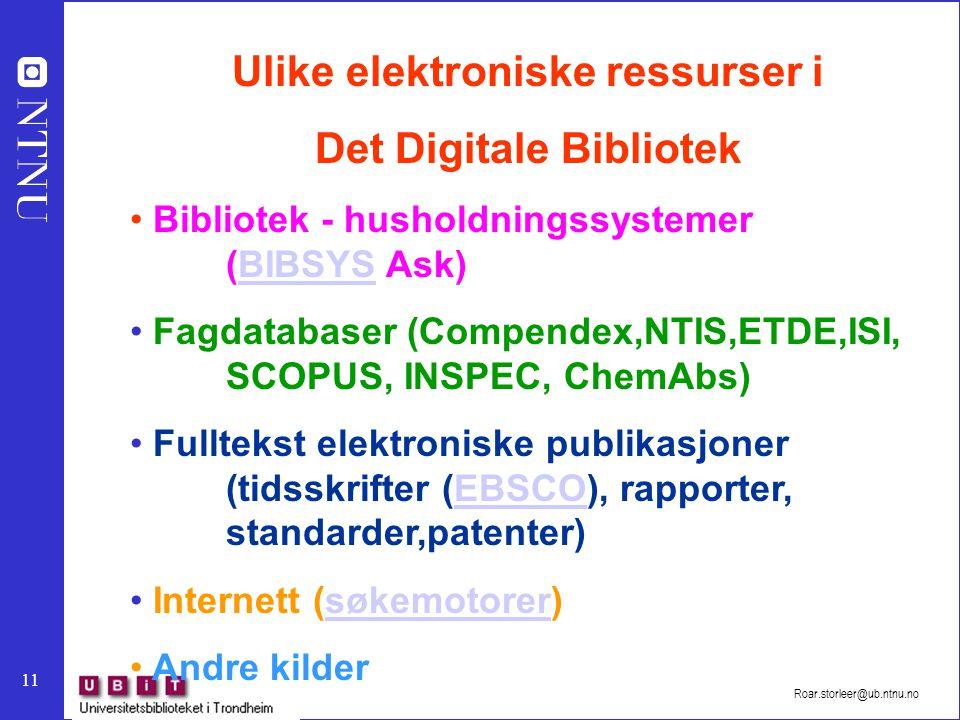 Ulike elektroniske ressurser i